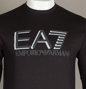 EA7 Large Chest Tipped Logo Sweatshirt Black