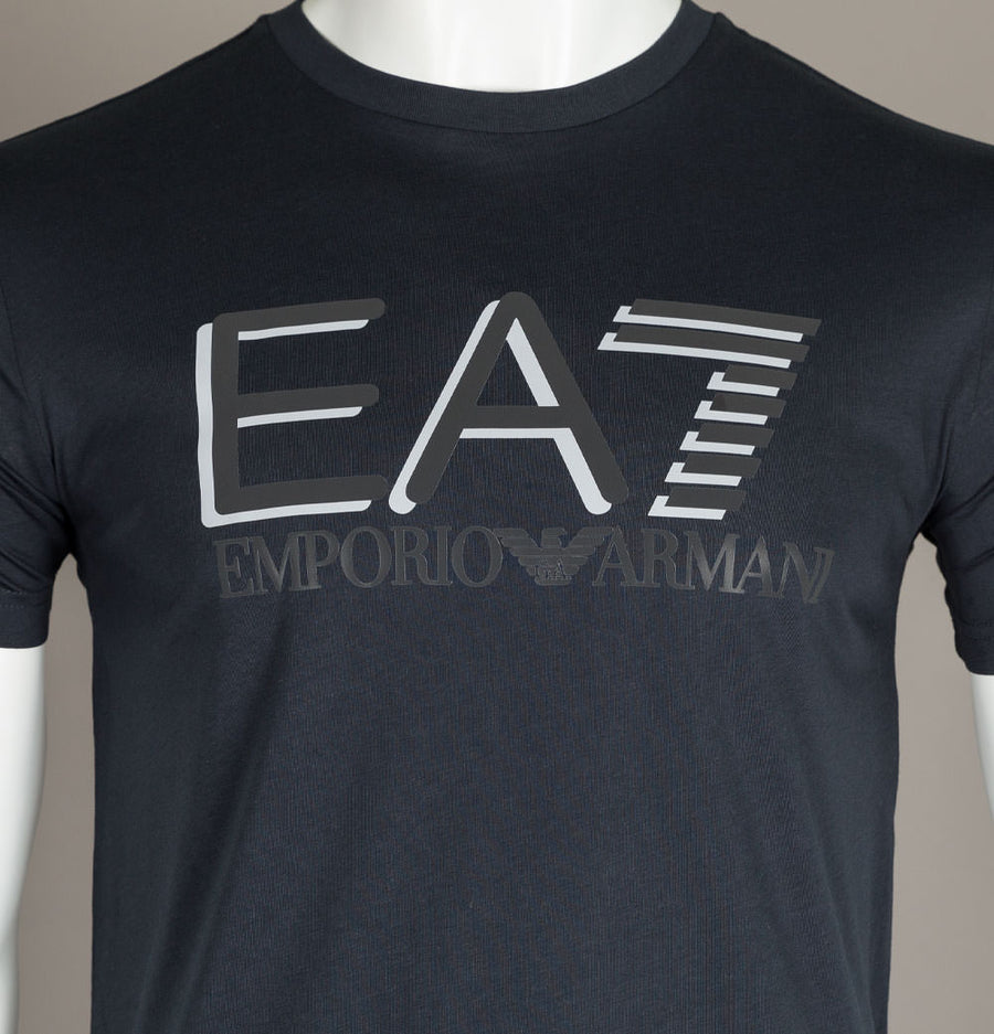 EA7 Large Chest Tipped Logo T-Shirt Blue Night