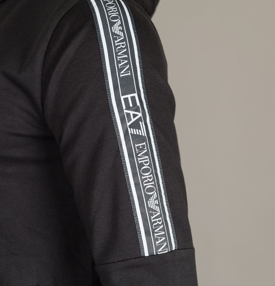 EA7 Shoulder Taping Hooded Sweatshirt Black