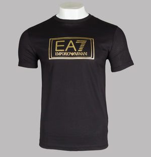 EA7 Metallic Gold Logo T-Shirt Black