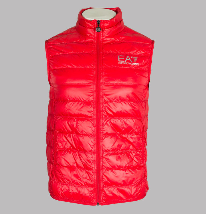 EA7 Quilted Down Gilet Racing Red