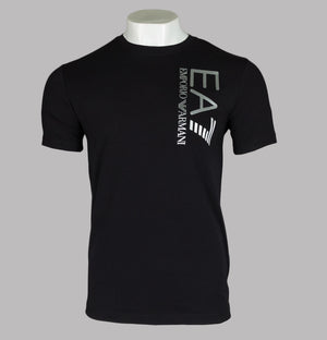 EA7 Silver Chest Logo T-Shirt Black