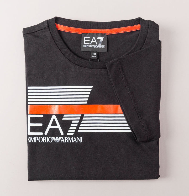 EA7 Stripe Lines Logo T-Shirt Black