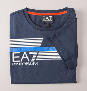 EA7 Stripe Lines Logo T-Shirt Navy Blue