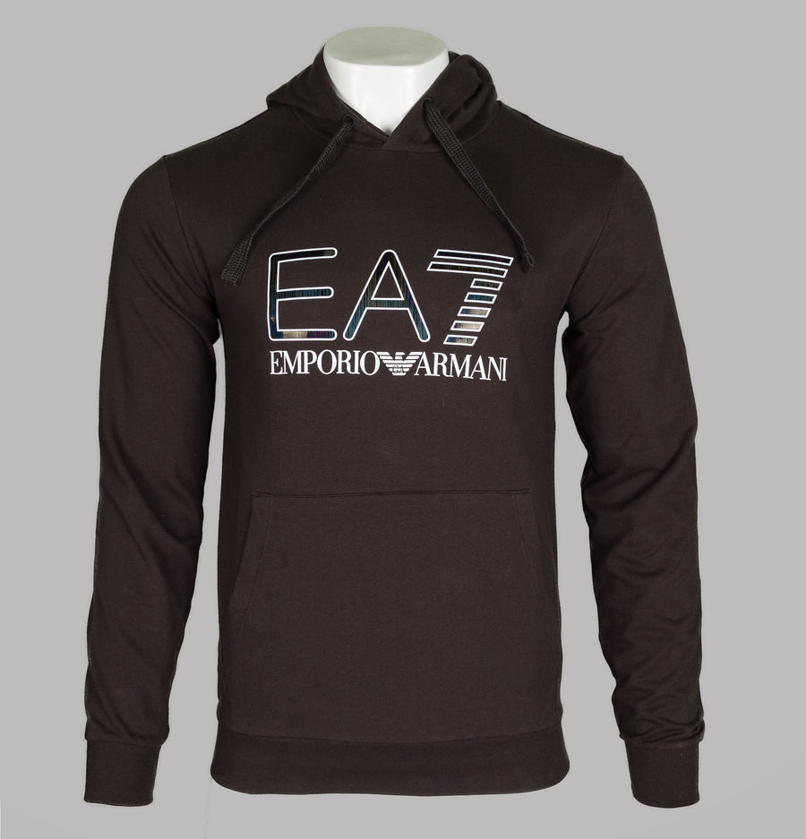 EA7 Iridescent Logo Hooded Sweatshirt Espresso