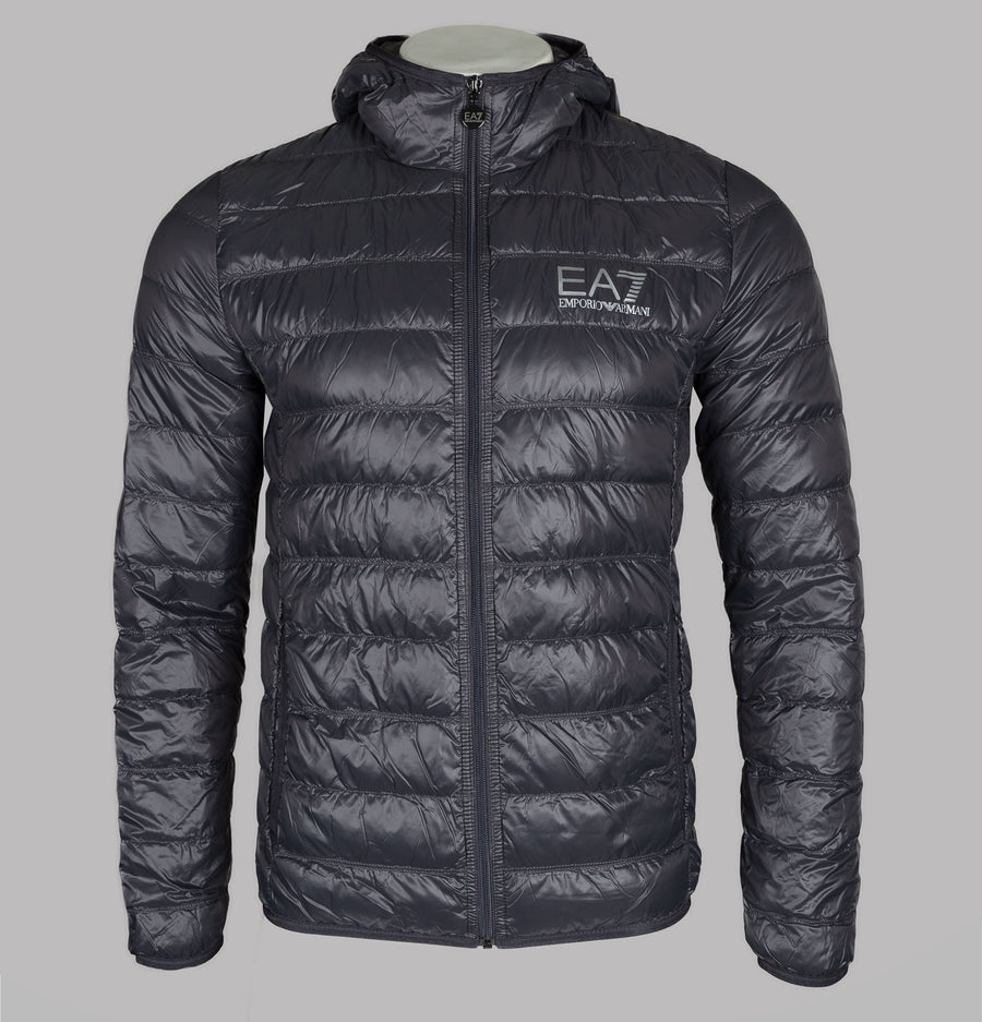 EA7 Quilted Down Hooded Jacket Anthracite