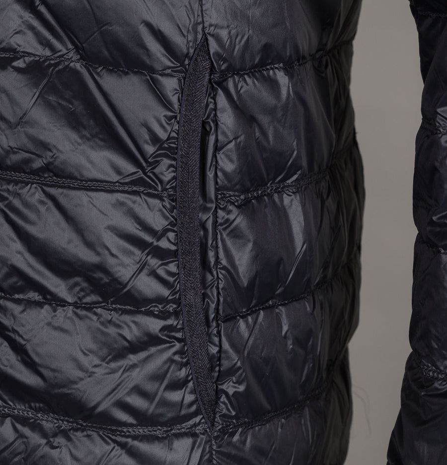 EA7 Quilted Down Hooded Jacket Black/Gold