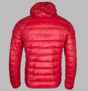 EA7 Quilted Down Hooded Jacket Racing Red