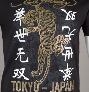 Ed Hardy Gold Tiger T-Shirt Black
