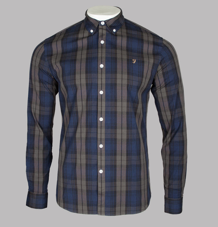 Farah Brewer Tartan Check Slim Fit Shirt Rich Grey