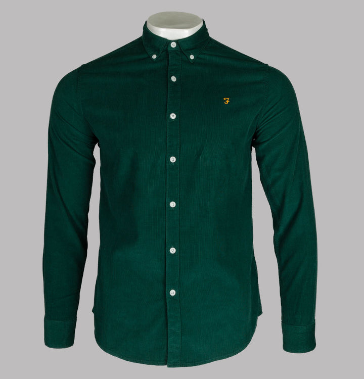 Farah Fontella Slim Fit Cord Shirt Emerald Green