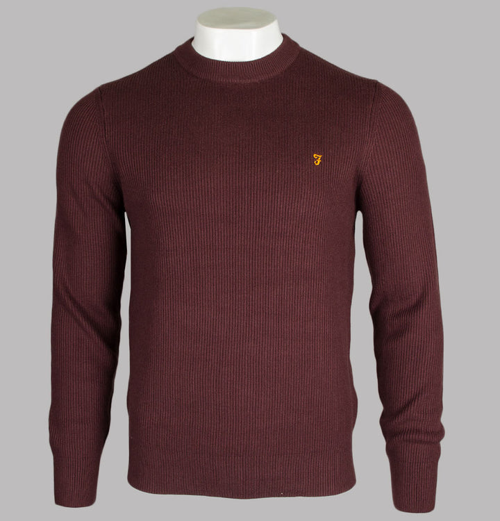 Farah Horace Crew Neck Knit Jumper Burgundy