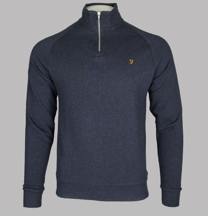 Farah Jim 1/4 Zip Sweatshirt True Navy Marl