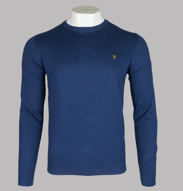 Farah Mullen Cotton Sweater Ultra Marine Marl