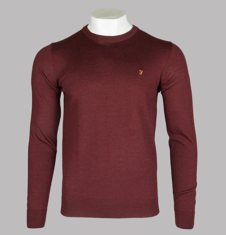 Farah Mullen Merino Wool Sweater Burgundy