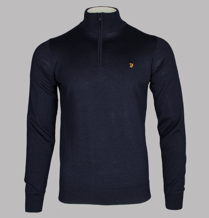 Farah Redchurch Merino Wool 1/4 Zip Jumper True Navy