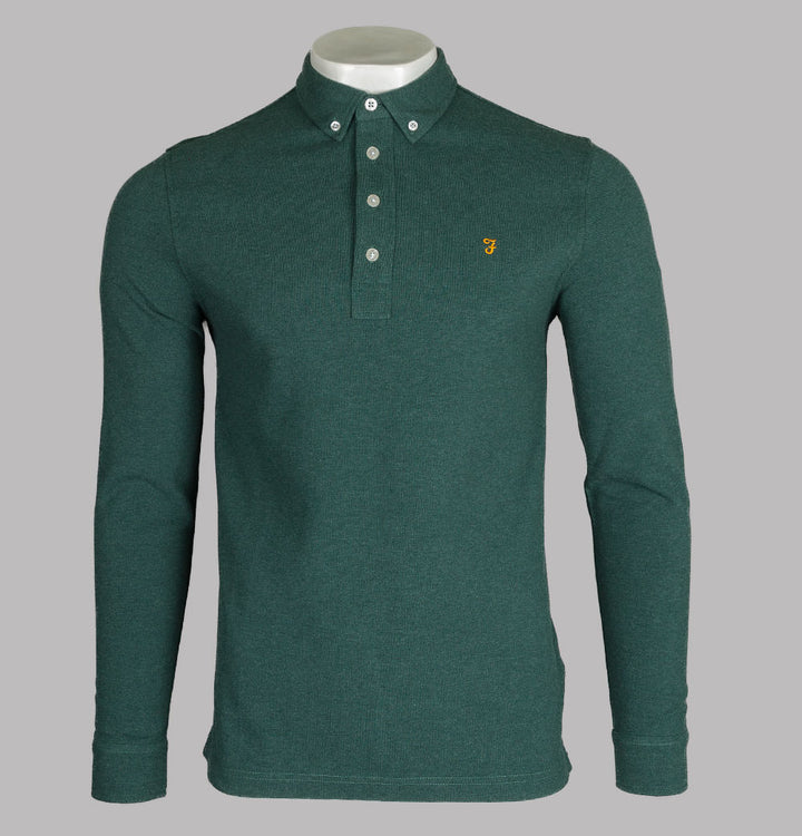 Farah Ricky LS Polo Shirt Bright Emerald Marl