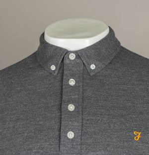 Farah Ricky LS Polo Shirt Grey Marl