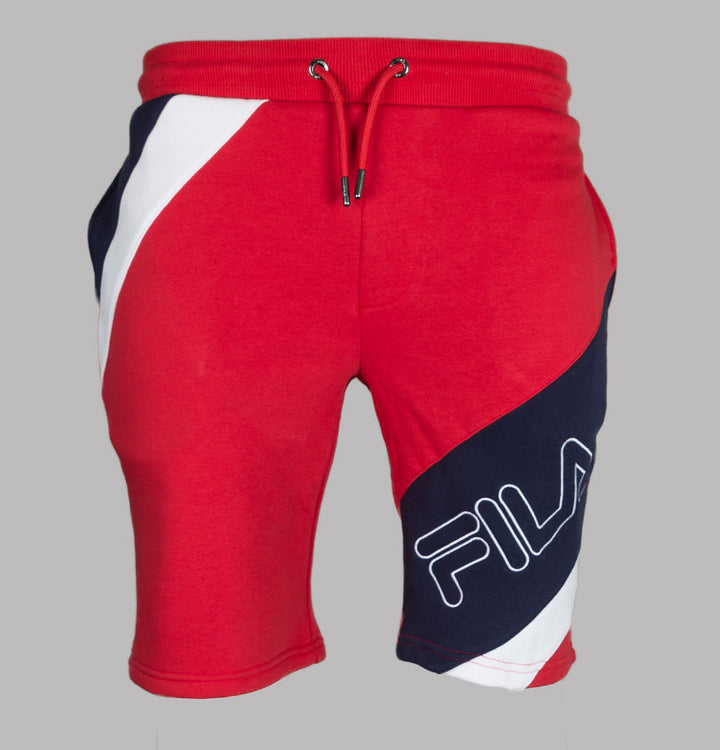 Fila Vintage Saburo Cut And Sew Striped Shorts Red