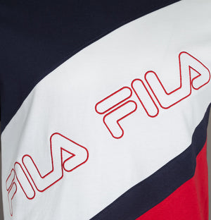 Fila Vintage Fabrizio Stripe Cut And Sew T-Shirt White