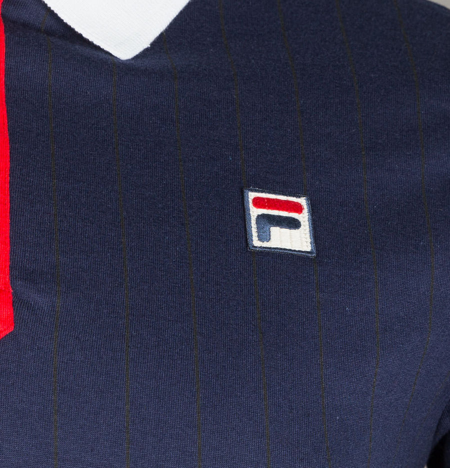 Fila Vintage BB1 Borg Striped Polo Shirt Blue