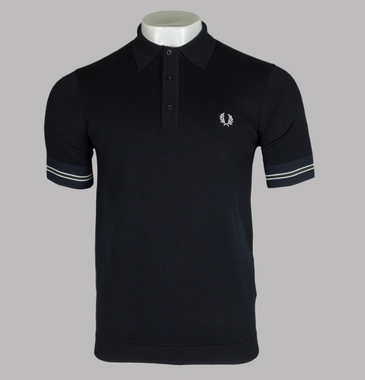 Fred Perry Contrast Panel Knitted Polo Shirt Black