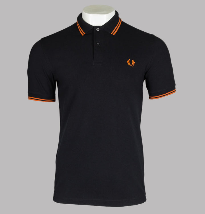 Fred Perry M3600 Polo Shirt Black/Rust