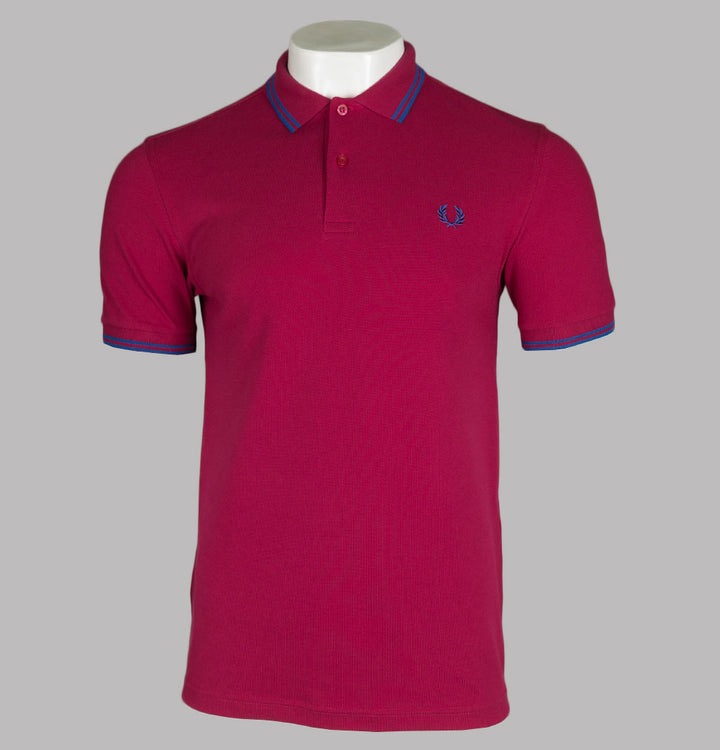 Fred Perry M3600 Polo Shirt Red Grapefruit/Mid Blue