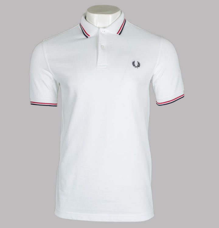 Fred Perry M3600 Polo Shirt White/Bright Red/Navy