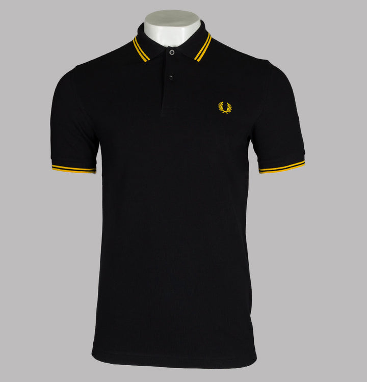 Fred Perry M3600 Polo Shirt Black/Yellow