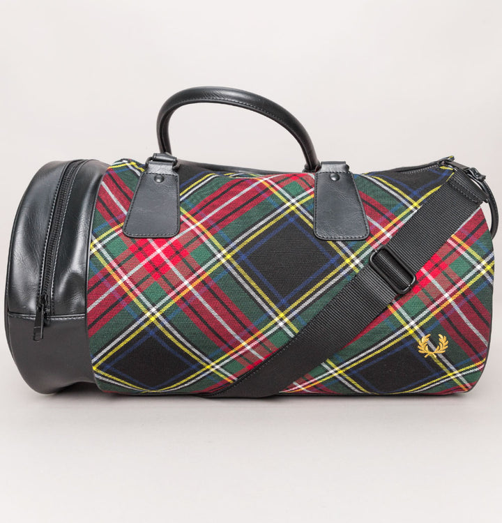 Fred Perry Tartan Barrel Bag Black Tartan