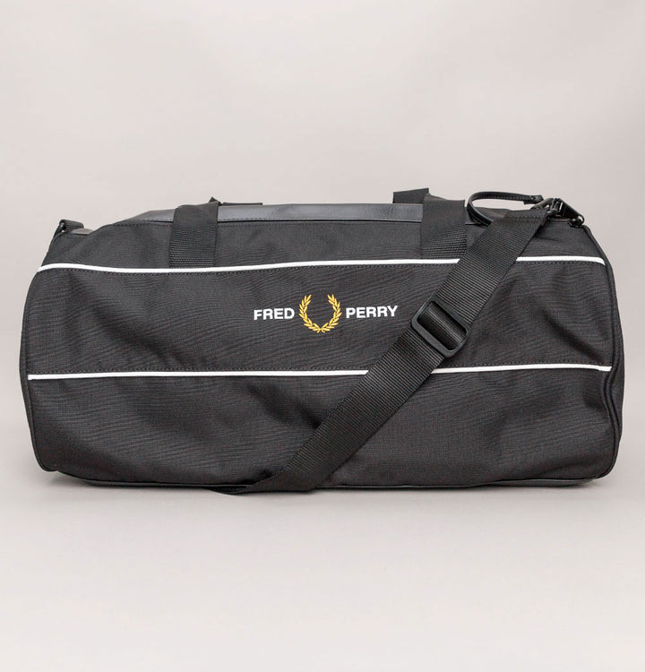Fred Perry Graphic Panel Barrel Bag Black
