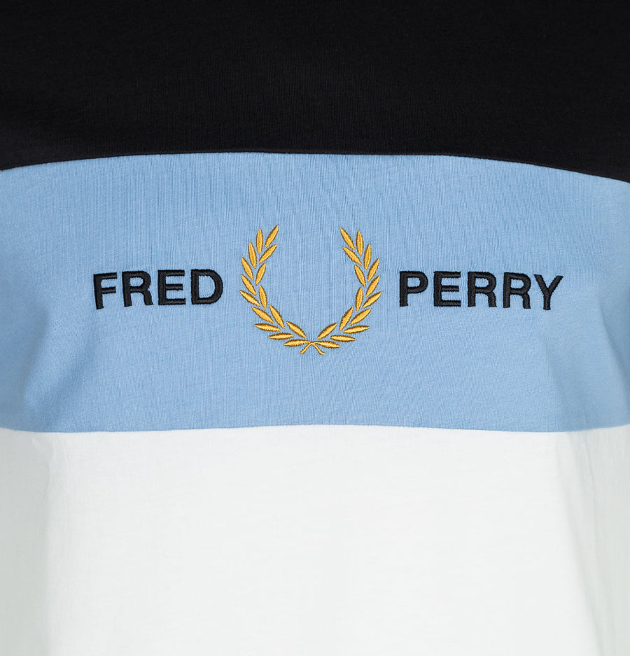 Fred Perry Embroidered Panel T-Shirt Snow White