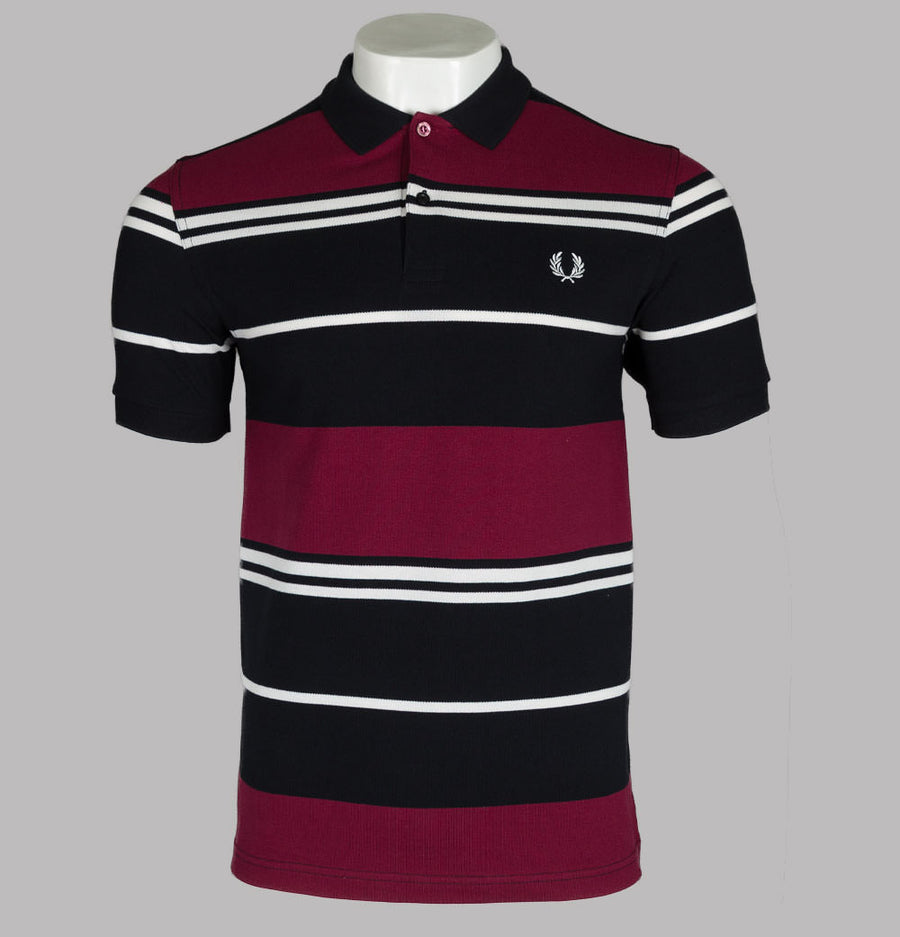 Fred Perry Stripe Polo Shirt Black