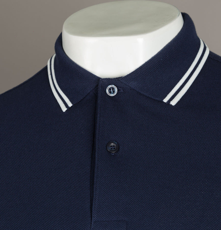 Fred Perry Long Sleeve Twin Tipped Polo Shirt Carbon Blue