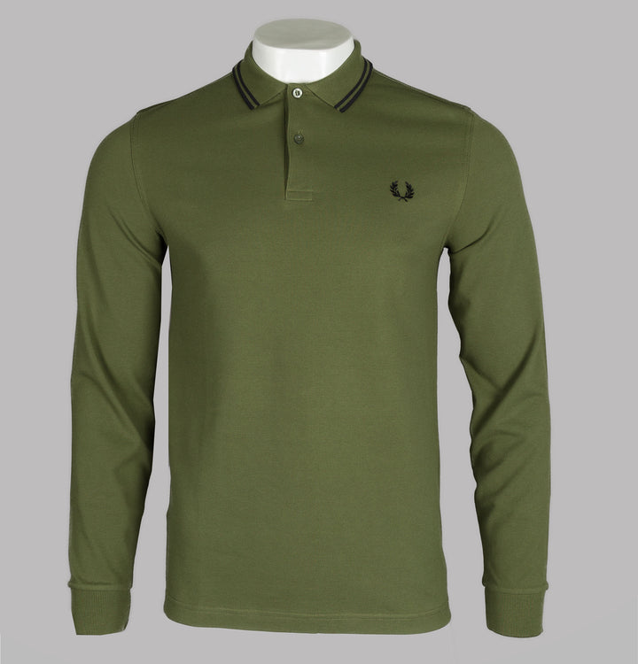 Fred Perry Long Sleeve Twin Tipped Polo Shirt Cypress Green