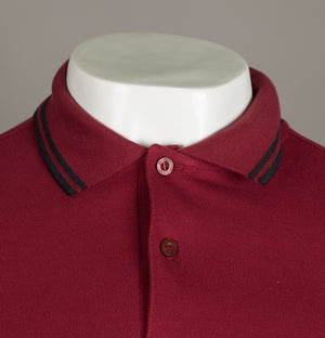 Fred Perry Long Sleeve Twin Tipped Polo Shirt Dark Red