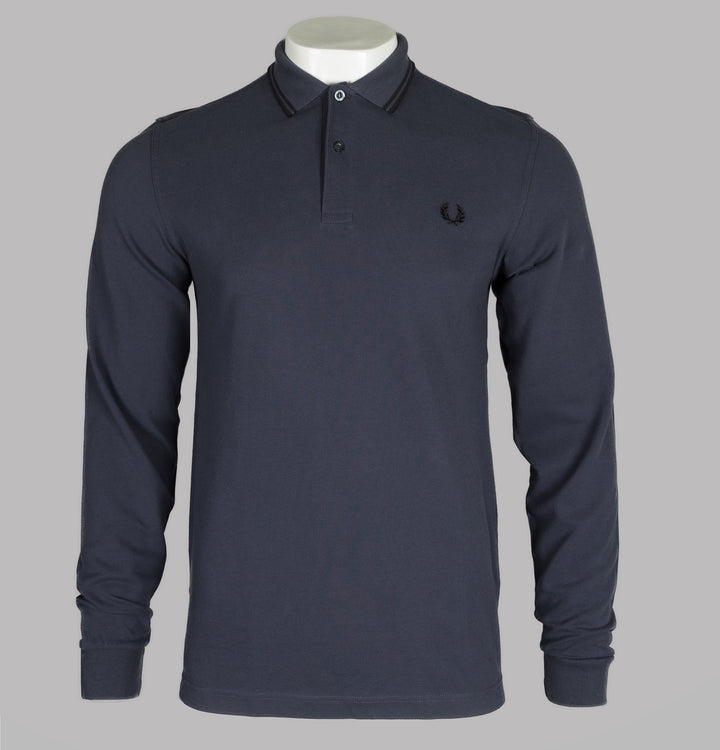 Fred Perry Long Sleeve Twin Tipped Polo Shirt Graphite Grey