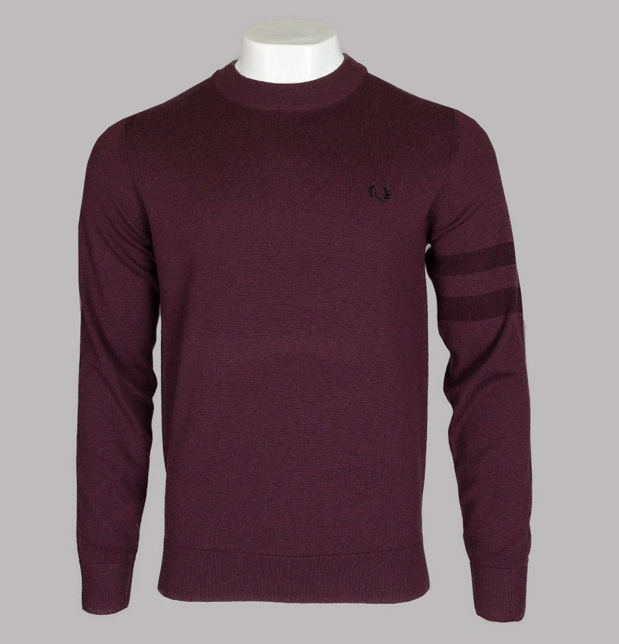 Fred Perry Tipped Sleeve Crew Neck Jumper Mahogany Marl
