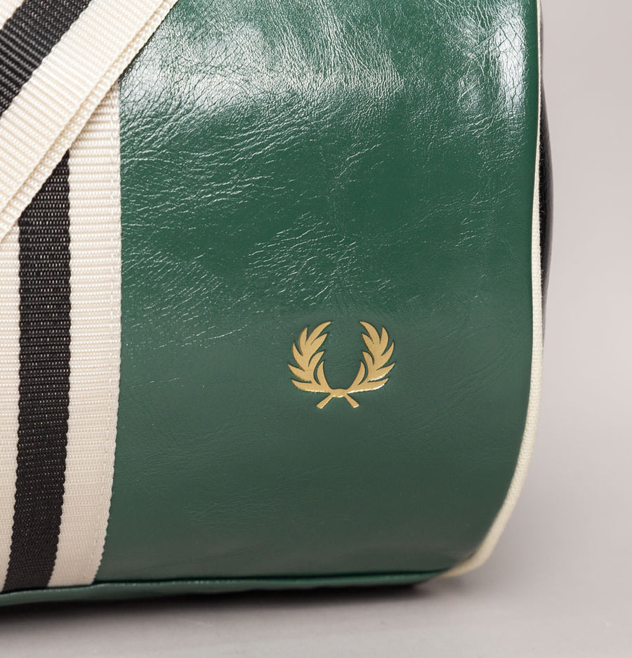 Fred Perry Colour Block Barrel Bag Tartan Green