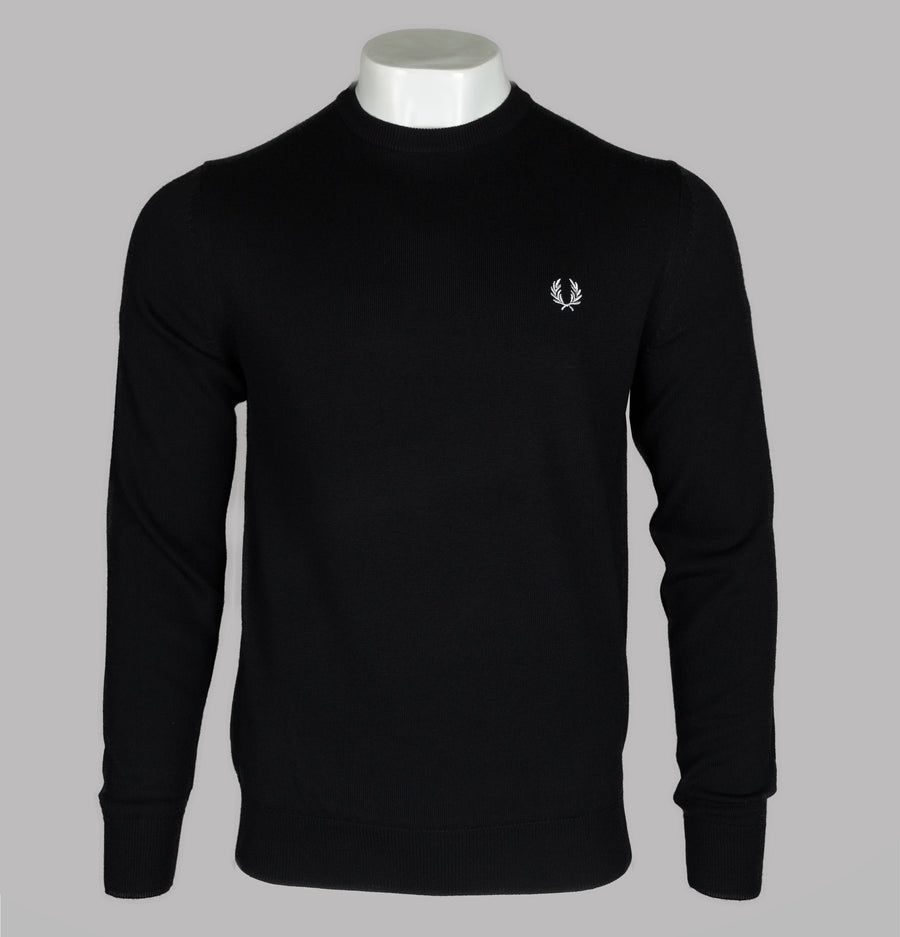 Fred Perry Classic Merino Crew Neck Jumper Black