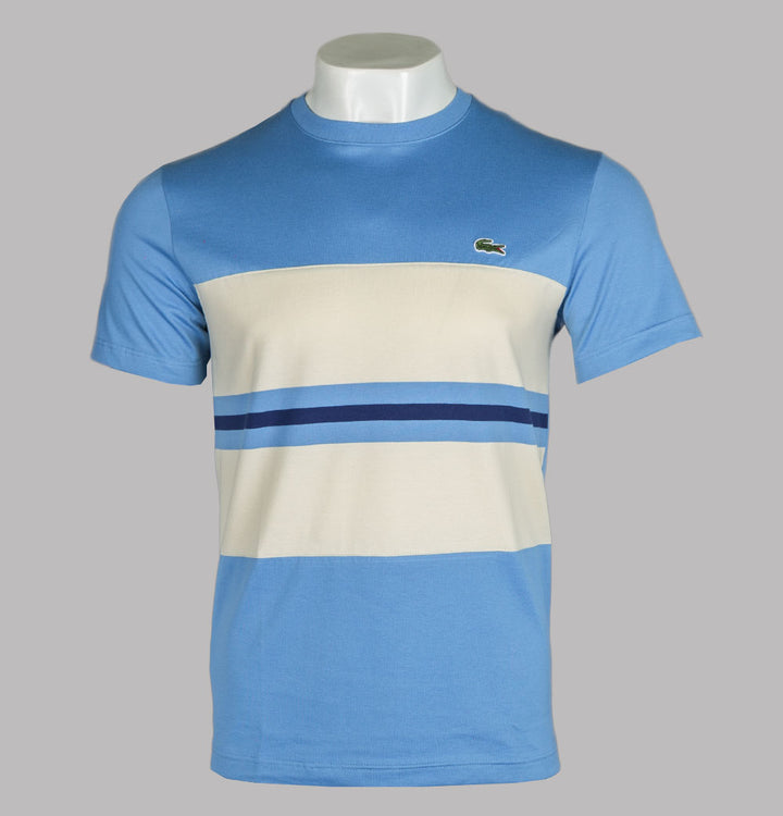 Lacoste Colour Block Striped Cotton T-shirt Blue/Beige