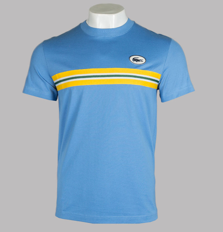 Lacoste Heritage Stripe Band and Badge T-Shirt Blue