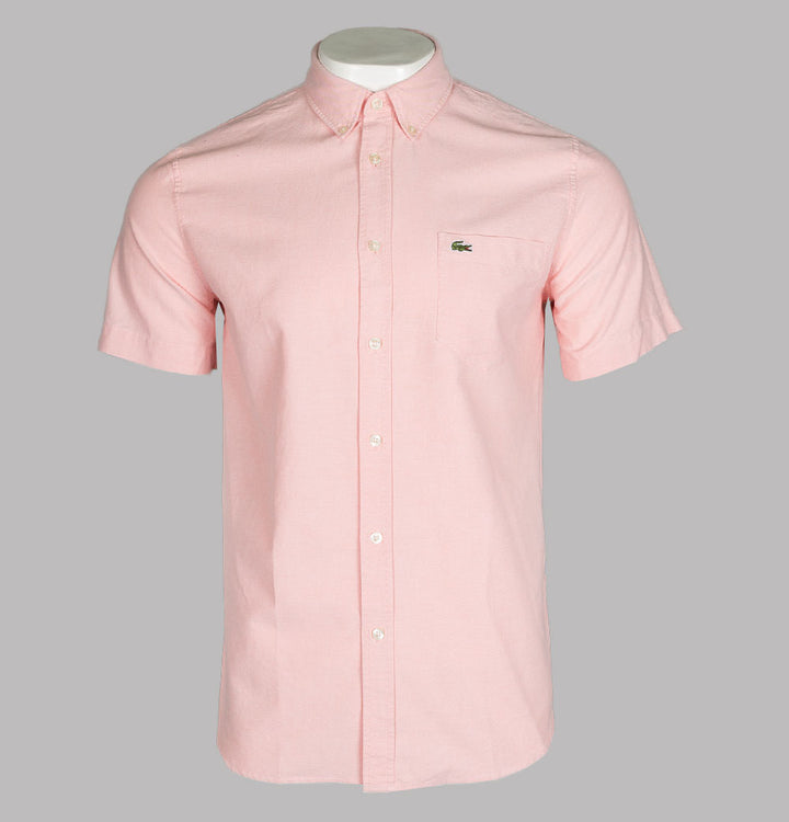 Lacoste Regular Fit Short Sleeve Oxford Shirt Pink