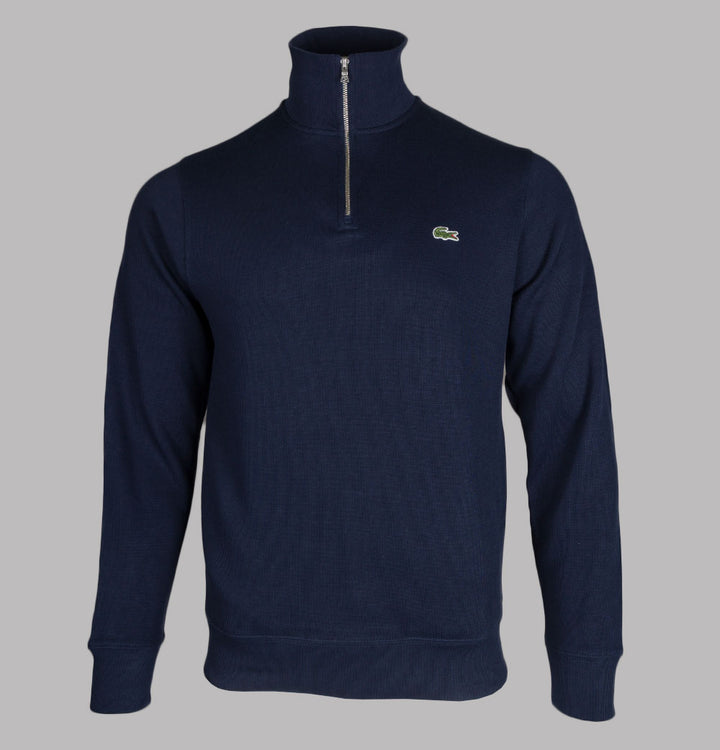 Lacoste Zippered Stand-Up Collar Sweatshirt Navy Blue