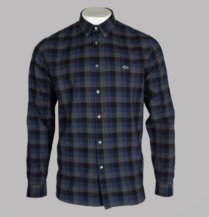 Lacoste Regular Fit Cotton Check Shirt Grey
