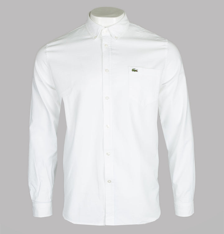 Lacoste Regular Fit Cotton Oxford Shirt White