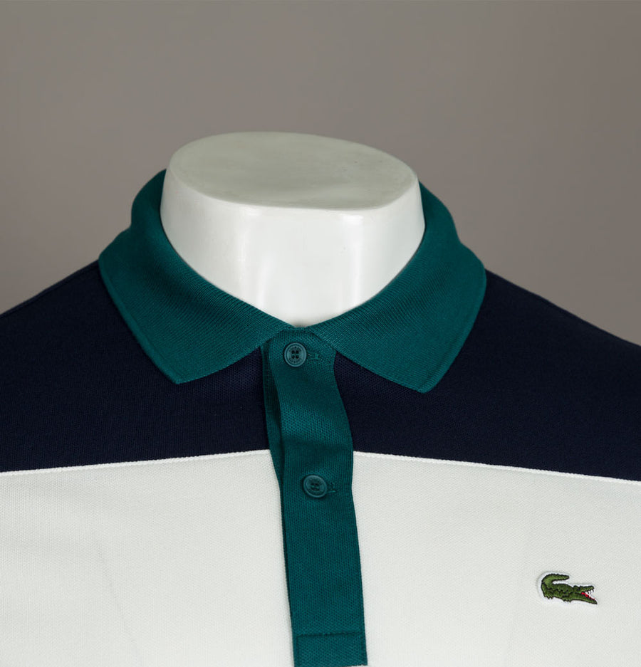 Lacoste Stretch Colour Block Polo Shirt Navy/White
