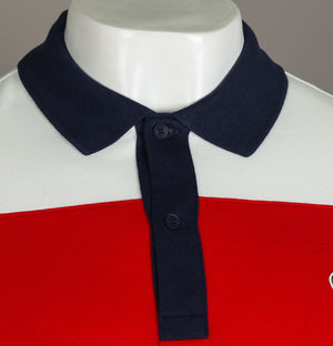 Lacoste Stretch Colour block Polo Shirt White/Red