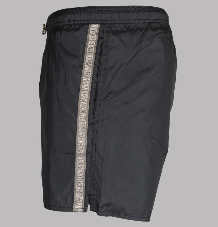 Emporio Armani Logo Taping Swim Shorts Black